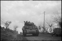 Tanks and transport moving on the NZ Sector of the Cassino Front in Italy, World War II - Photograph taken by George Kaye