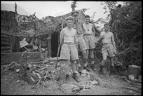 New Zealanders outside a NZ Artillery command post in the Cassino area, Italy, World War II - Photograph taken by George Kaye