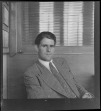 Portrait of Paul Haywood of Aircraft Supplies, Whites Aviation Office, Auckland