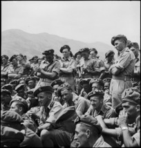 New Zealand troops listen to address by Prime Minister Peter Fraser at the Italian Front, World War II - Photograph taken by M D Elias