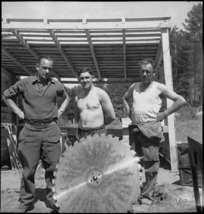 Saw doctors at the NZ Forestry Unit's mill in southern Italy, World War II - Photograph taken by M D Elias