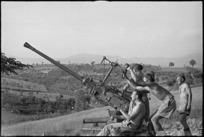 New Zealand anti aircraft gunners ready for action in the Sora area, Italy, World War II - Photograph taken by George Kaye