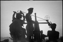 New Zealand anti aircraft gun and crew photographed at dusk near Sora, Italy, World War II - Photograph taken by George Kaye