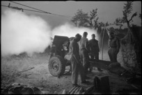 New Zealand 25 Pounder firing at night near Sora, Italy, World War II - Photograph taken by George Kaye
