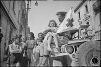 Refugees brough to Sora, Italy, in ambulance jeep driven by C P Kerrisk, World War II - Photograph taken by George Kaye