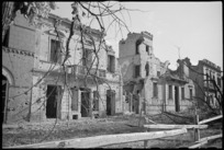 Damaged buildings in Orsogna, Italy, World War II - Photograph taken by George Kaye
