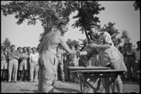 Brigadier Graham Parkinson presenting 'trophies' at the gala day held by 46 Battery at Arce, Italy, World War II - Photograph taken by George Kaye