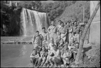 Members of New Zealand Division camped alongside waterfall at Isola del Liri, Italy, World War II - Photograph taken by George Kaye