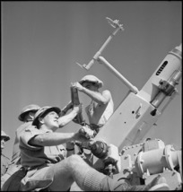 Close up of sighting an anti aircraft gun in Egypt during World War II - Photograph taken by M D Elias