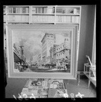 Painting ot the Evening Post building by Peter McIntyre, with a display of books