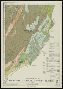 Geological map of Pourerere & Blackhead Survey Districts [cartographic material] / drawn by A.W. Hampton.