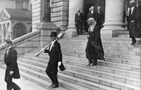 Speaker of the House, Charles Statham, and the mace bearer, on the steps of Parliament Buildings, Wellington