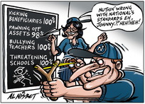 Nisbet, Alastair, 1958- :'Nuthin' wrong with National's Standards eh, Johnny.?. Heh! Heh!' 28 September 2012