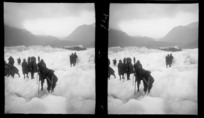 Group of people, possibly on the Franz Josef Glacier, Westland Tai Poutini National Park, West Coast, South Island
