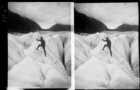Unidentified man standing on ice, Franz Josef Glacier, Westland Tai Poutini National Park, West Coast, South Island