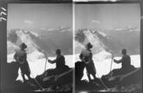 Edgar Williams' Mount Aspiring trip, two unidentified mountaineers roped-up on the Northwest Ridge of Mount Aspiring looking to Fastness Peak and the East Matukituki Valley, Central Otago Region