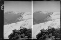 Edgar Williams' Mount Aspiring trip, view to lower Volta Glacier and the upper West Matukituki Valley beyond, Central Otago Region
