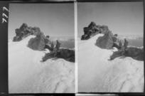 Edgar Williams' Mount Aspiring trip, two unidentified mountaineers on a ridge on [Mount Aspiring?], Central Otago Region