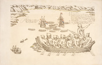 Gilsemans, Isaac :A view of the Murderers' Bay, as you are at anchor here in 15 fathom [1642]