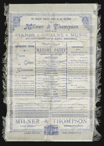 Theatre Royal Christchurch :Madame Patey, England's greatest contralto, Thursday June 18th, 1891. [Silk] programme. Whitcombe & Tombs Limited, printers, Christchurch, N.Z. 19683 [1891]