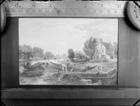 Copy photograph of a print showing a country scene with a lock, people on barges, and a house, by an unknown artist, ruler is underneath image and it was taken during Williams' European trip