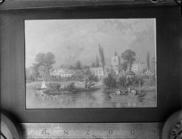 Copy photograph of an [English?] country village scene, with men in boats on a river, by an unknown artist, ruler is underneath image and it was taken during Williams' European trip
