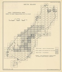 NZMS 1 topographical series index to sheet publication as at 15-12-69. South Island [electronic resource] / drawn by the Department of Lands & Survey.