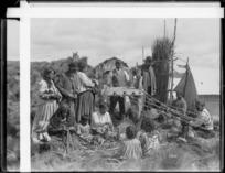 Unidentified Maori group making rope - Photographer unidentified