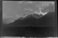 View of mountains, from the ground, Tasman Glacier, Mount Cook region