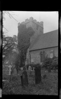 Unidentified church and cemetery, including gravestones, Oxford, England