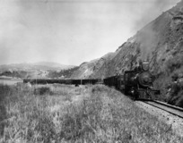[Photographer unknown] :Engine No 11 of the Wellington and Manawatu Railway Company lifting a heavy mixed train up the steep gradient out of Thorndon