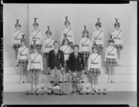 Weldonettes junior marching team of 1967-1968 with trophies and shield