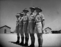 Five soldiers of the Officer Cadet Training Unit at the New Zealand school of Instruction at Maadi, Egypt line up to receive decorations