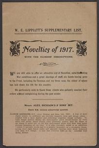W E Lippiatt (Firm) :W E Lippiatt's supplementary list. Novelties of 1917, with the raisers' descriptions [1917]