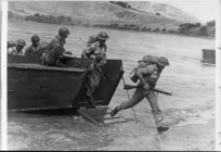 World War 2 New Zealand soldiers, during an amphibious training session, Pacific area