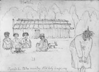 Crawford, James Coutts, 1817-1889 :Papotahi. Patea country. Old lady tangi-ing [21 Jan 1862]