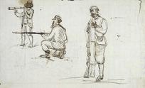 Williams, Edward Arthur 1824-1898 :[Gentlemen at the shoot; three gentlemen. ca 1865].