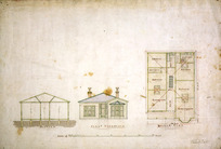 Tait, Robert 1830-1926 :[Ground plan, section and elevation of single-storey house for W? Blythe. 1880-1910?].