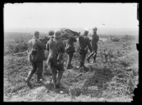 German prisoners bringing in the New Zealand wounded, Puisieux