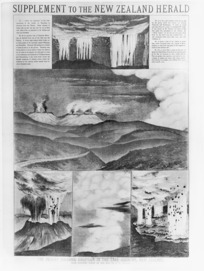 Page from a supplement to the New Zealand Herald newspaper, featuring sketches of Mount Tarawera by E W Payton