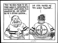 Scott, Tom, 1947 - :'Trust the news media to see Jenny Shipley's opposition to compulsory super saving as a leadership bid... her support for me is beyond question....She even knitted me this lovely pullover...' The Evening Post. May 12, 1997.