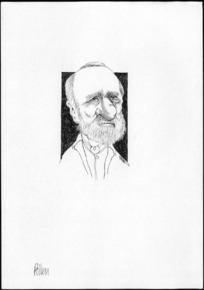 Winter, Mark, 1958- :Caricature of Daniel Pollen, 1813-1896, drawn April 2003.