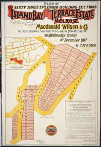 Plan of sixty three splendid building sections, Island Bay Terrace Estate, Melrose [cartographic material] / W.O. Beere, surveyor.
