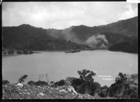Harbour, wharf and ships at Whangaparapara, Great Barrier Island