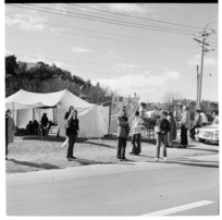 College students taking part in a fundraising fast, Simla Crescent, Ngaio, Wellington.