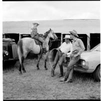 Spectators attending a rodeo at Carterton, 1974.