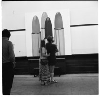 Modern art exhibition at the Academy of Fine Arts in the Dominion Museum building, Wellington, 1974.
