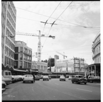 Lambton Quay, the site of the new BNZ premises, and the Victoria Market & Gallery, 1974.
