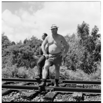 Railway workers, West Coast, and hitchhikers near Punakaiki, 1971
