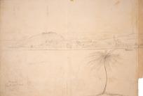 Collinson, Thomas Bernard 1822-1902 :Wanganui from the opposite bank. 1848. Town stockade. Middle stockade.